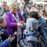 Statsminister Erna Solberg fra Høyre fører valgkamp inden valget på mandag. Foto: Scanpix.