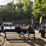 Blågårds Plads på Nørrebro en sommeraften i juli. Umiddelbart er der en afslappet og idyllisk atmosfære, men beboere i området fortæller, at banden Loyal to Familia gør stedet utrygt. Foto: Nils Meilvang