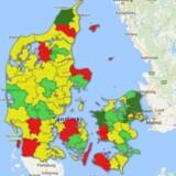 Klik dig rundt på danmarkskortet herunder og se, hvordan opsparingen ser ud i din egen kommune. Screenshot fra Google Maps.