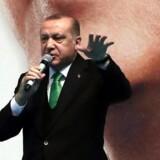 Tyrkiets præsident Recep Tayyip Erdogan har gentagne gange truet de medlemmer af Gulenbevægelsen, der bor udenfor Tyrkiet. Her ses han i forbindelse med en tale på AK partiets kongres den 18. februar 2018 . / AFP PHOTO / ADEM ALTAN
