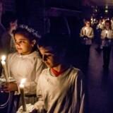 Luciaoptog med 3. klasserne på Houlkærskolen i Viborg. Foto: Preben Madsen
