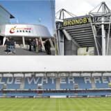 Både i Aalborg, Brøndby og Esbjerg er stadionnavnet blevet solgt. Men ikke alle har ændret navn. Foto: Jens Nørgaard Larsen, Henning Bagger og Claus Fisker / Scanpix