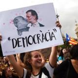 Demonstrant i Barcelona.