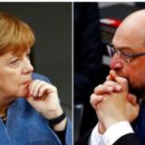 Asylpolitik bliver et af de vanskeligste punkter på dagsordenen, når Angela Merkel onsdag mødes til regeringsforhandlinger i Berlin med socialdemokraten Martin Schulz.