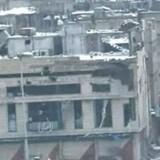 Dette billede viser angiveligt skadede bygninger i Baba Amro i Homs.