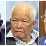 Tidligere Khmer Rouge næstkommanderende Nuon Chea (tv.), tidligere præsident Khieu Samphan (midten) og tidligere udenrigsminister Ieng Sary (th.) i retten i Cambodia.