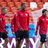 Mathias 'Zanka' Jørgensen, Viktor Fischer og Lasse Schöne under Danmarks træning på Mordovia Arena i Saransk, fredag den 15 juni 2018.