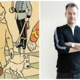 Tintin og hans trofaste hund, Terry, skal ud på mobileventyr fra 2019, og det sørger Henrik Nielsen, administrerende direktør i det danske spilfirma Hugo Games, for. Fotos: EPA/Hergé/Scanpix og Anne Bæk