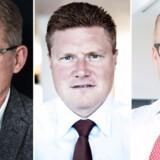 En gruppe utilfredse investorer har lagt sag an mod Novo Nordisk som virksomhed, men går samtidig personligt efter nu forhenværende Novo-topchef Lars Rebien (tv.), koncerndirektør og tidligere finansdirektør Jesper Brandgard og den tidligere chef for Novos USA-forretning Jakob Riis (th.), der i dag er topchef i Falck.