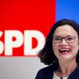 Andrea Nahles efter at have vundet formandsvalget i det tyske SPD med godt 66 procent af stemmerne. Scanpix/Michael Probst