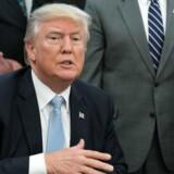 Præsident Donald Trump lovede under valgkampen sidste år at opføre en mur langs grænsen til Mexico. Han truede for nylig også med at lukke regeringen ned, hvis Kongressen ikke sikrer en finansiering af det omstridte projekt. Men ifølge avis nedtones truslerne nu.. / AFP PHOTO / NICHOLAS KAMM