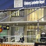 Et arkivfoto fra lufthavnen i Göteborg fra 2. maj 2017, hvor lufthavnen blev evakueret i forbindelse med en mistænkelig pakke.