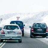 Arkivfoto. Morgenbilisterne har været forsigtige på de sneglatte veje.