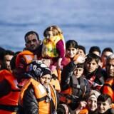 En ung dreng vinker til fotografen fra en af de utallige både, der det seneste år er kommet ind på ferieøen Lesbos med flygtninge fra især Syrien. Flygtningesituationen får nu Bravo Tours til at droppe rejser dertil.