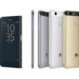 Sådan ser de ud, de nye kompakte telefoner fra Sony og Huawei. Til venstre Sonys Xperia X Compact, til højre Huaweis Nova og begge til omkring 3.500 kroner. Foto: Sony og Huawei