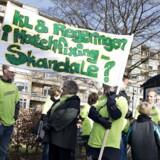 Lockoutede skolelærere i demonstration 25 april 2013 i Aalborg.