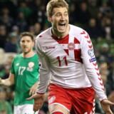 Nicklas Bendtner scorede i november til 5-1 på et straffespark, da landsholdet spillede sig til VM med en sejr over Irland. Scanpix/Paul Faith