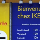 (FILES) A file picture taken on February 29, 2012 shows a person getting out of an Ikea store in Lomme, northern France. Ikea France, a branch of Swedish furniture giant Ikea, announced on May 18, 2012 it will fire four executives after probed allegations that Ikea had paid for illegal access to secret French police files on employees and clients. AFP PHOTO / PHILIPPE HUGUEN