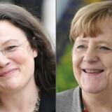 Andrea Nahles, formand for SPD i Forbundsdagen med forbundskansler Angela Merkel. Foto: DANIEL ROLAND, JOHN MACDOUGALL/Scanpix 2018