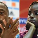 Patrice Evra får ingen applaus for at hylde ekspertkollega Eni Alukos analyse ved at slå hænderne sammen på TV. Arkivfoto: Boris Horvat/AFP/Scanpix og Franck Fife/AFP/Scanpix