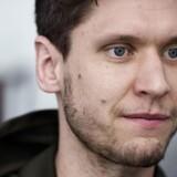Niklas Landin under pressemødet på spillernes hotel torsdag den 18 januar.