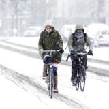 Cyklister kæmper mod sneen på Østerbro i København 13. marts 2013.
