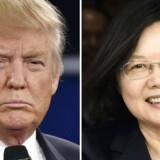 ARKIVFOTO: Kina advarer Trump mod at ændre politik. Kinas ledelse vil ikke se passivt på, at Donald Trump vender ryggen til USA's hidtidige Kina-politik. Samarbejdet mellem de to supermagter kan ryge sig en tur. Arkivfoto: Donald Trump og Taiwans præsidentTsai Ing-wen