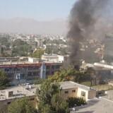 Røg fra eksplosionen i Kabul.