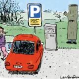 NATUREN DET BILLIGE SKIDT. Nu skal det til at koste penge at parkere ved naturområder. Illustration: Lars Andersen