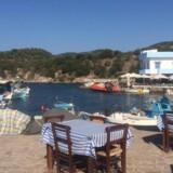 Mange flygtninge og NGO'er holder til på havnen i Skala Sikamni, Lesbos.