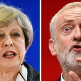Arkivfoto: Premierminister og leder for De Konservative Theresa May (venstre) og leder for det største oppositionsparti Labour, Jeremy Corbyn (højre).