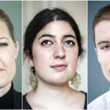 Sofie Carsten Nielsen (R), Yasmin Davali fra Danske Studerendes Fællesråd og Jacob Mark (SF) er imod egenbetaling på videregående uddannelse nummer to.