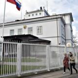 Den russiske ambassade i København fotograferet 7. april 2016. Giftangrebet på en russisk eksspion i Storbritannien har fået Danmark til at udvise to diplomater til Rusland. Nu har Rusland reageret ved at udvise to danske diplomater af Rusland.