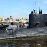 The Argentine military submarine ARA San Juan and crew are seen as they leave the port of Buenos Aires, Argentina June 2, 2014. Picture taken on June 2, 2014. Argentine Navy/Handout via REUTERS ATTENTION EDITORS - THIS IMAGE WAS PROVIDED BY A THIRD PARTY.