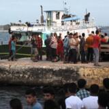 Folk er samlet for at følge en redningsoperation i den egyptiske by Rosetta, hvor en synkefærdig båd med op mod 450 flygtninge og migranter om bord forliste onsdag. Scanpix/Stringer