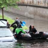 De massive regnmængder ramte Lindevang på Frederiksberg tidligere i dag.
