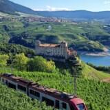 Det lille pendlertog har i tre år kørt gennem Trentinos grønne dale som en kulturkaravane til egnens mest markante historiske slotte på udvalgte lørdage. Foto: Visitvaldinon.it