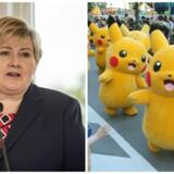 Den norske statsminister Erna Solberg er flere gange blevet taget i et spil Pokémon Go - sidste gang var under en debat i Stortinget i tirsdags.