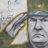 En kvinde i Beograd går forbi graffiti af den tidligere hærchef for de bosniske serbere, Ratko Mladic. FN's Krigsforbryderdomstol for Det Tidligere Jugoslavien meddelte onsdag, at der vil blive afsagt dom i sagen mod Mladic den 22. november. Reuters/Stoyan Nenov
