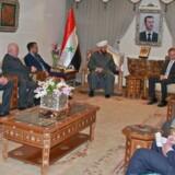 Syv medlemmer fra det tyske højrefløjsparti Alternative für Deutschland har mødtes med flere repræsentanter fra det syriske regime. Her mødes den tyske delegation med stormufti Ahmad Badreddin Hassun / AFP PHOTO / SANA