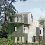 Visualisering af konceptet Venligbolig Plus, som skal opføres i Frederiksberg Kommune. Illustration: ONV Arkitekter og 2+1 Idébureau.
