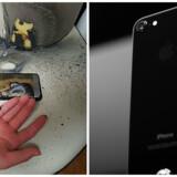 Samsung og Apple slås med hver deres problemer med de nye toptelefoner. Samsungs Galaxy Note 7 er i 35 tilfælde eksploderet eller brudt i brand, og alle telefoner er hjemkaldt til kontrol. Apples iPhone 7 har ridseproblemer i farven jetsort, som ellers skal få folk til at købe de dyrere modeller. Fotos: Gwangju Bukbu Police/AFP/Stephen Lam/Getty Images/Scanpix