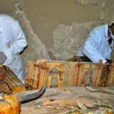 Eksperter er i gang med at undersøge de sarkofager med mumier og skulpturer, der blev fundet i en grav uden for Luxor. Graven menes at være 3500 år gammel. Scanpix/Stringer