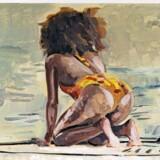 Ditte Ejlerskov er en af de malere, der lader sig inspirere af pop - og her af pop-idolet Rihannas numse.»Paddle Painting 4« 2017, af Ditte Ejlerskov