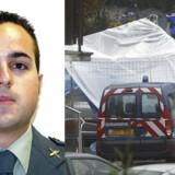 Den 24-årige Raúl Centeno (tv) blev dræbt af formodede baskiske terrorister i Capbreton, hvor gerningsstedet undersøges (th). Fotos: Reuters/Scanpix