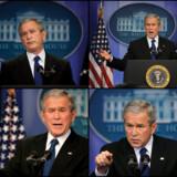 USAs præsident, George W. Bush, skar grimasser under et pressemøde i Det Hvide Hus i går. På pressemødet gentog han, at han stadig betragter Iran som en trussel mod verdensfreden.