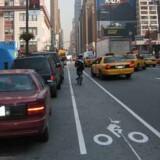 Et eksempel fra Manhattan på en af de passager der skal forbedres i fremtiden (class 2 bicycle lanes). Credit: Jens Røhrbech / Gehl Architects