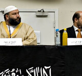 Forrige søndag holdt den kontroversielle islamistiske bevægelse Hizb ut-Tahrir møde i Nørrebrohallen i København. Foto: Morten Juhl