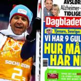 Nu håner nordmændene igen svenskerne. Onsdag var norske Ole Einar Bjørndalen ( billedet ) med til at sikre Norge den niende guldmedalje ved OL i Sotji. Til højre forsiden af den norske avis Dagbladet torsdag
