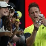 Tennys Sandgren vandt sensationelt over Dominic Thiem, men det efterfølgende pressemøde kom også til handle om andet end tennis. Reuters/Toru Hanai
